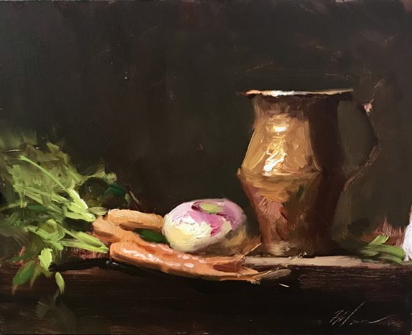 An original oil painting of a still life titled Garden Gifts by Kelli Folsom