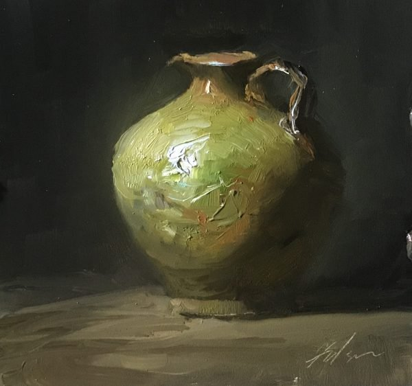 An original oil painting of a still life titled Green Vessel by Kelli Folsom