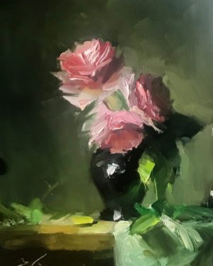 An original oil painting of a still life titled I Love You by Kelli Folsom