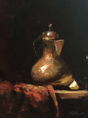 A photo of an original oil painting on panel of a still life painting of a copper tea kettle on crimson fabric.