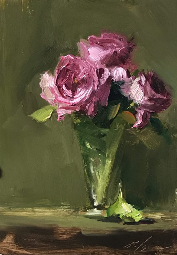 An original oil painting of a still life titled LaTour Legacy Roses by Kelli Folsom