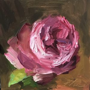 An original oil painting of a still life titled Raspberry Rose by Kelli Folsom