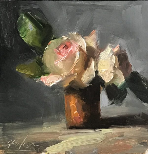 An original oil painting of a still life titled Roses in Copper Cup by Kelli Folsom