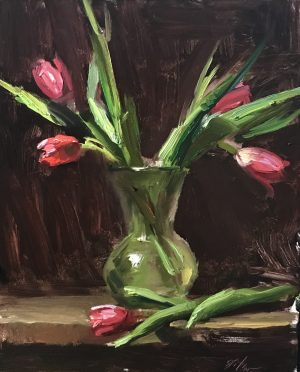 An original oil painting of a still life titled Tulips by Kelli Folsom