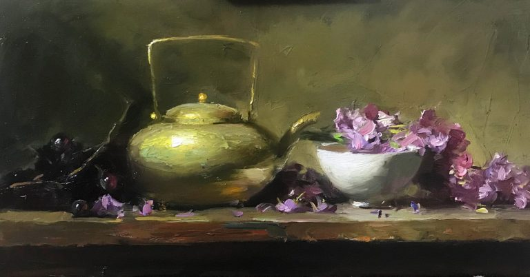 An original oil painting of a still life titled Hope Springs Eternal by Kelli Folsom