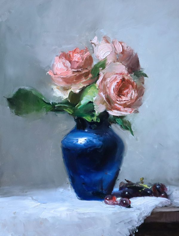 An original oil painting of a still life titled Sweet Peach Roses by Kelli Folsom