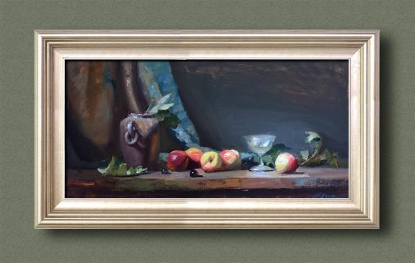 An original framed oil painting of a still life titled A Cordial Party by Kelli Folsom