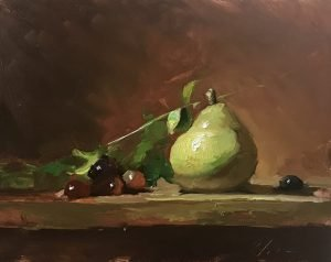 An original oil painting of a still life titled Anjou Pear by Kelli Folsom