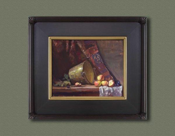 An original framed oil painting of a still life titled Apple Butter Bucket by Kelli Folsom