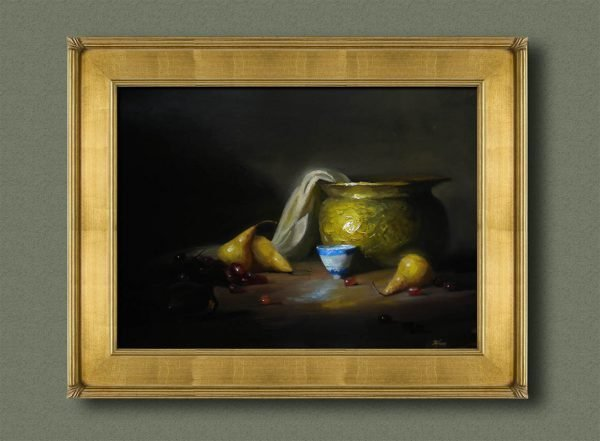 An original framed oil painting of a still life titled Brass, Pears, and Chinese Cup by Kelli Folsom