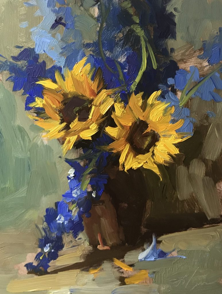 An original oil painting of a still life titled Delphiniums and Sunflowers by Kelli Folsom