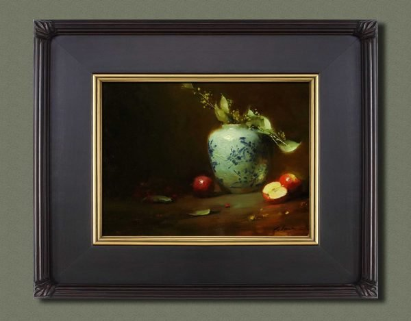 An original framed oil painting of a still life titled Ginger Jar and Apples by Kelli Folsom