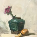 An original oil painting of a still life titled Green Ginger Jar High Key by Kelli Folsom