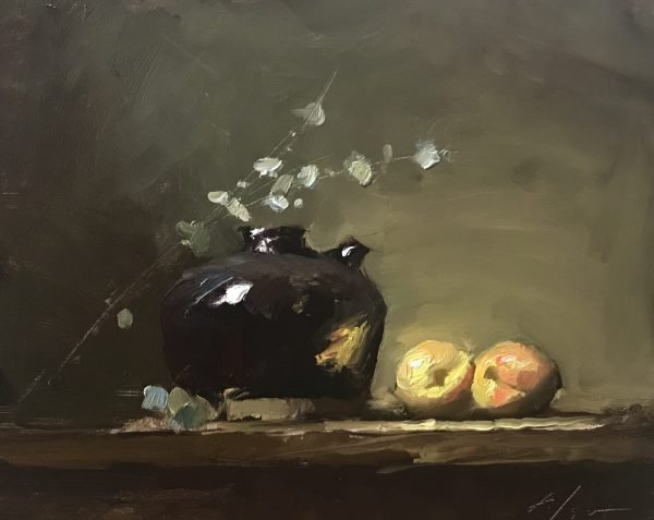 An original oil painting of a still life titled Japanese Jar and Peaches by Kelli Folsom