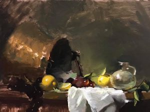 An original oil painting of a still life titled Lemons and Glass by Kelli Folsom