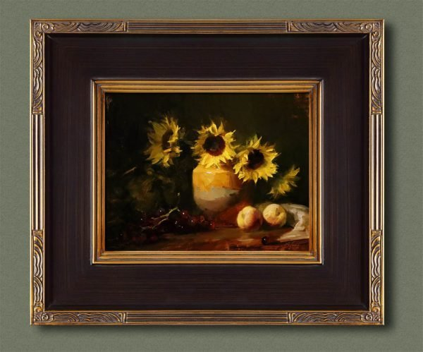 An original framed oil painting of a still life titled Provencal Sunflowers by Kelli Folsom