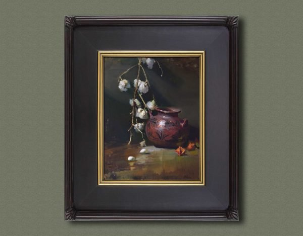 An original framed oil painting of a still life titled Pueblo Pottery and Cotton Balls by Kelli Folsom