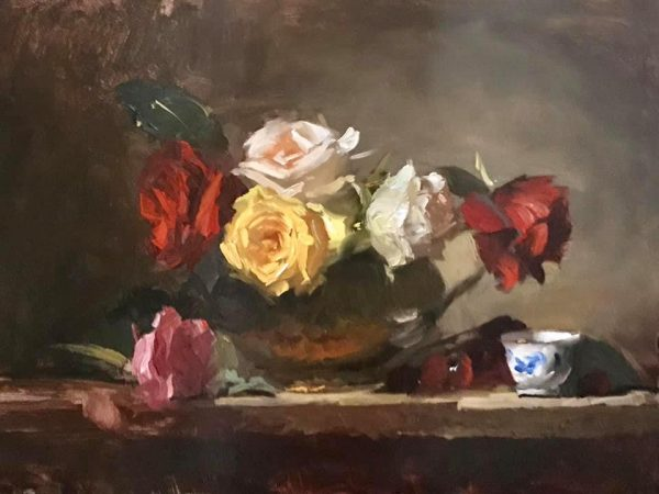 An original oil painting of a still life titled Rainbow Roses by Kelli Folsom