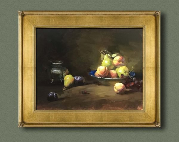 An original framed oil painting of a still life titled Summer Fruits by Kelli Folsom