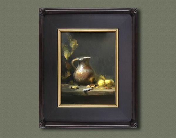 An original framed oil painting of a still life titled When Life Gives You Lemons by Kelli Folsom