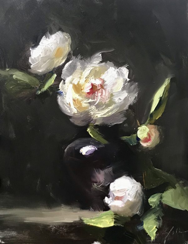 An original oil painting of a still life titled White Peonies on Black by Kelli Folsom