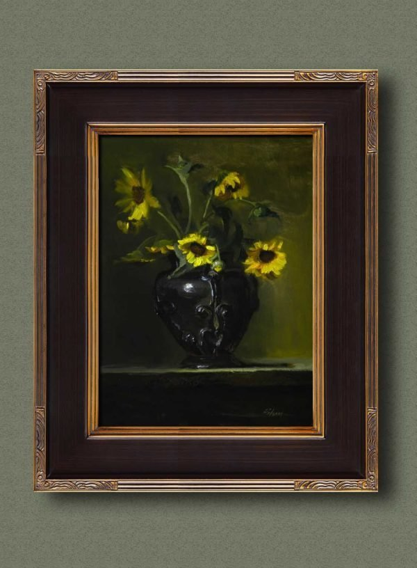 An original framed oil painting of a still life titled Wild Field Sunflowers by Kelli Folsom