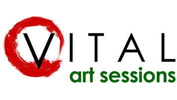 An image of the Vital Art Sessions logo, an online art instruction course with artist Kelli Folsom