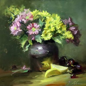 A photo of an original oil painting on panel of a floral still life of daisies with lemons and grapes.