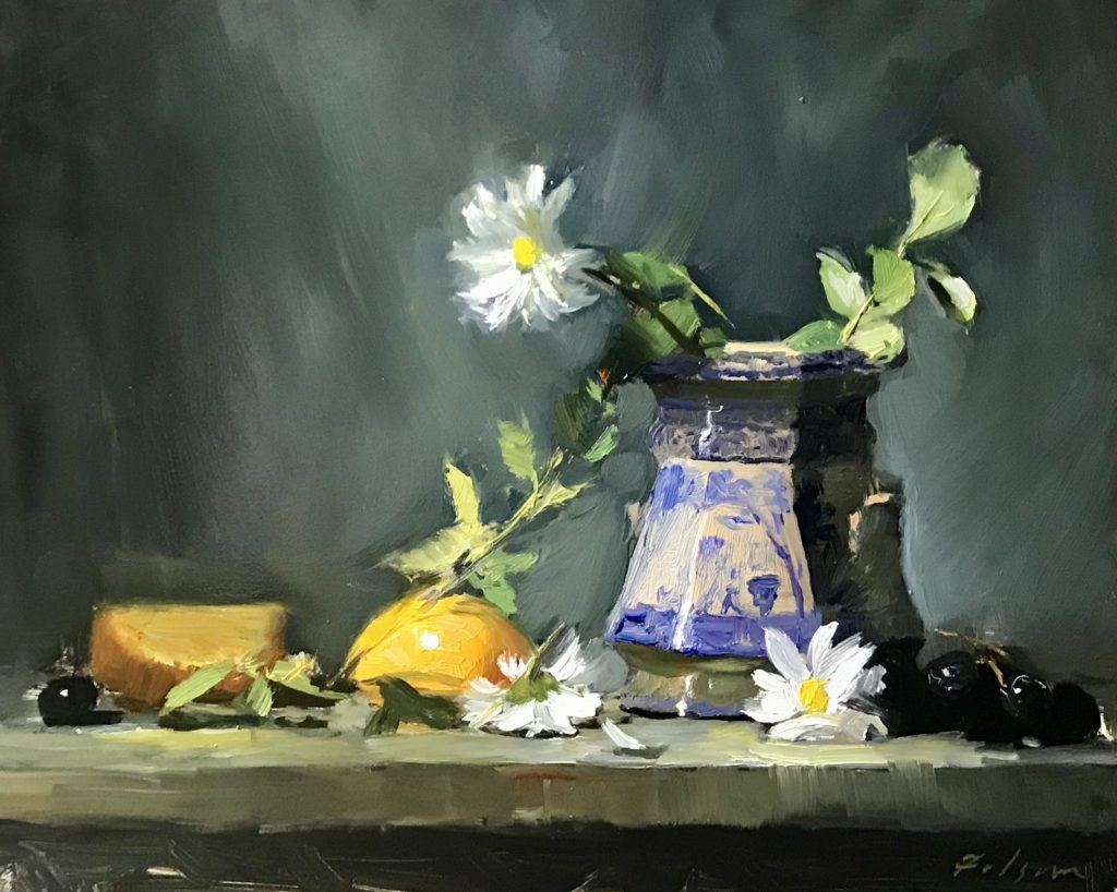 A photo of an original oil painting on panel of a still life painting of white daisies and blue jar.