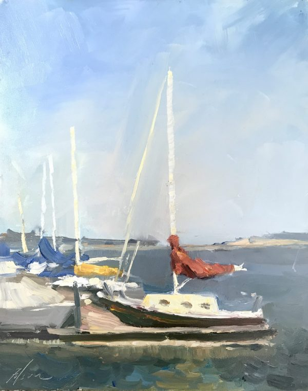 A photo of an original oil painting on panel of a still life painting of boats on a lake.