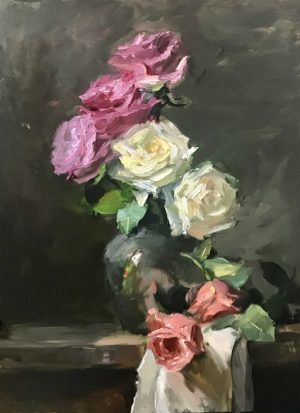 A photo of an original oil painting on panel of pink, ivory, and peach roses.