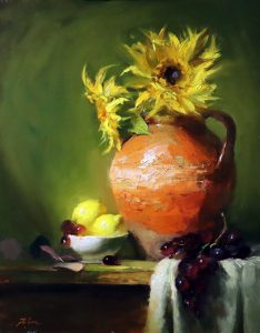 A photo of an original oil painting on panel of a floral still life of sunflowers in confit jar with lemons.