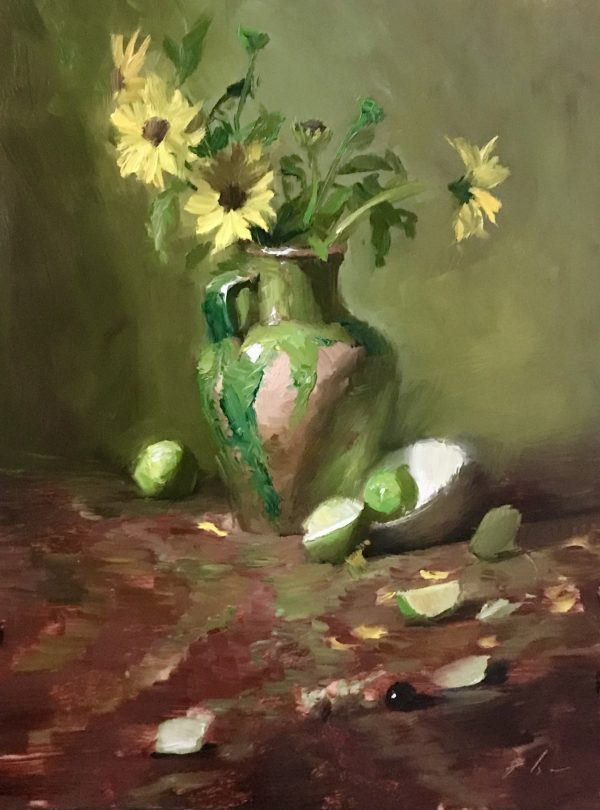 A photo of an original oil painting on panel of a still life of yellow sunflowers in a green vase with limes.