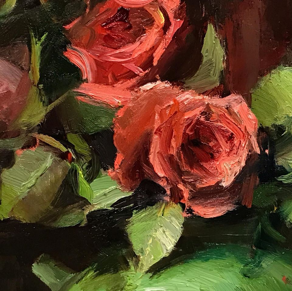 Close up of oil painting of red rose and green leaves