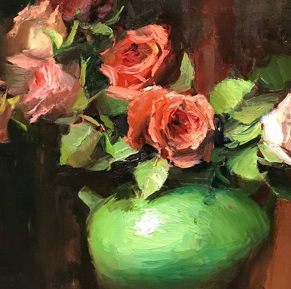 Close up of oil painting of red roses in green jar