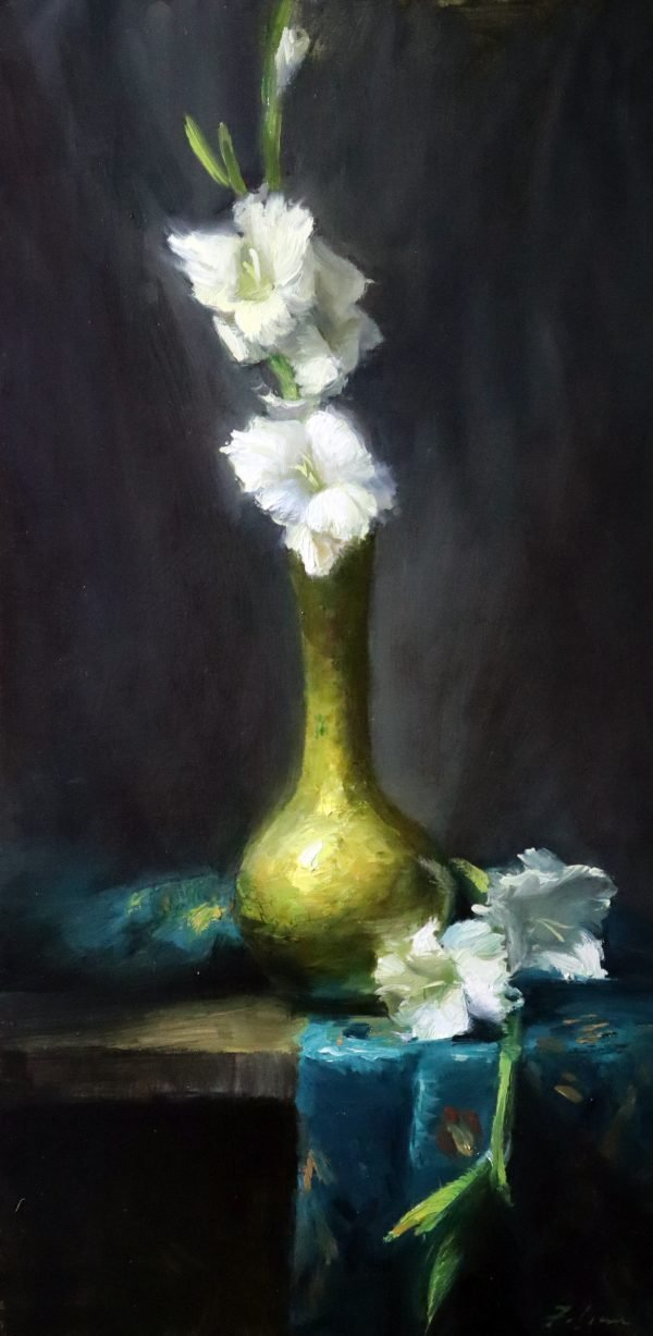 An original oil painting of a still life titled Elegance Remembered featuring white gladiolus brass and turquoise satin by Kelli Folsom