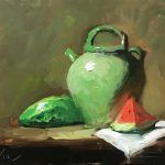 A photo of an original oil sketch on panel of a still life painting of watermelon and a green confit jar.