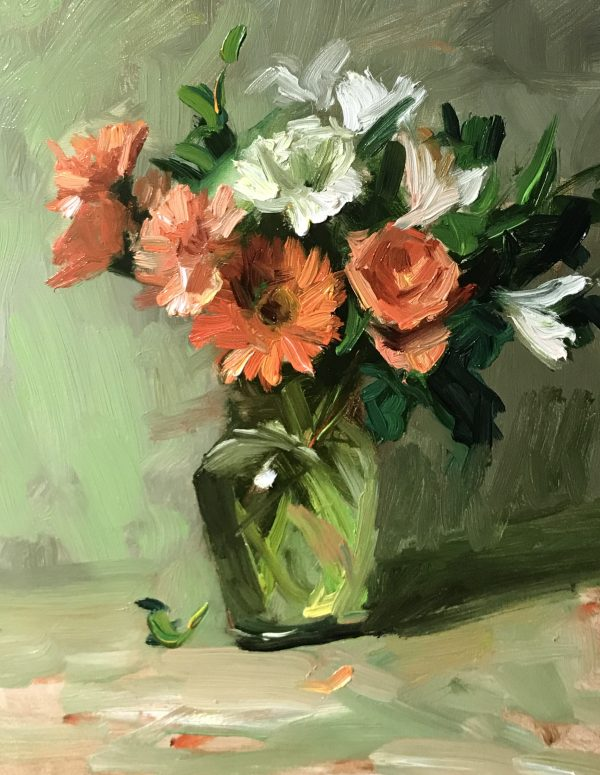 A photo of an original oil sketch on panel of a still life painting of white and orange summer flowers in a glass vase.