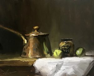 A photo of an original oil sketch on panel of a still life painting of a French copper saucepan and mustard.