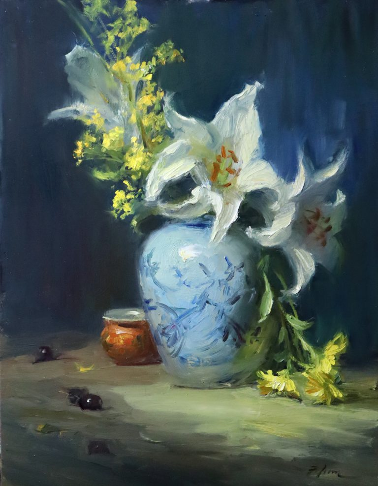 An original oil painting of a still life titled Lily Peace by Kelli Folsom featuring blue and white asian ginger jar white lilies