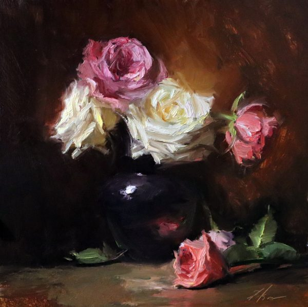 A photo of an original oil painting on panel of a still life painting of white and pink roses in a vase.