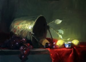 A photo of an original oil painting on panel of a still life painting of brass, red, and lemons.