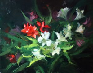 A photo of an original oil painting on panel of a still life painting of red and white flowers.