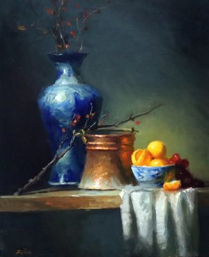 An original oil painting of a still life titled Bittersweet, Delft Vase and a Bowl of Oranges by Kelli Folsom