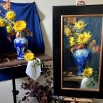 An original oil painting of a still life titled Fall Sunflowers and a Blue and White Vase by Kelli Folsom