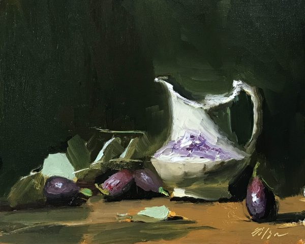 """An original oil painting of a still life of figs and an antique creamer by artist Kelli Folsom. The painting is sized 8""""x10"""" and sold unframed for $350"""