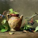 A photo of an original oil painting on panel of a still life painting of a Japanese teapot and fall berries by Kelli Folsom.