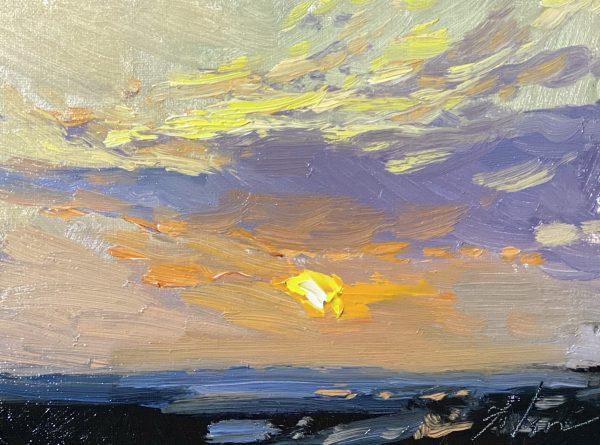 "An original oil painting by Kelli Folsom of a sunrise on panel. 5x7"" $350"