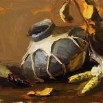A photo of an original oil painting on panel of a still life painting of Native American pottery and corn by Kelli Folsom.