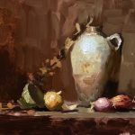 A photo of an original oil painting on panel of a still life painting of shallots and a salt glazed jug.